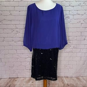 AGB Blouson Dress Sequins Blue and Black 20W